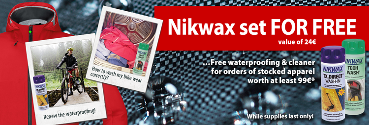 Free Nikwax set for a purchase of bike wear