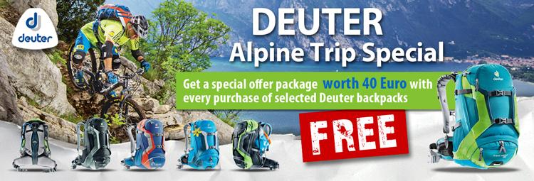 Alpine Cross special offer: Free bonus package for your Deuter backpack