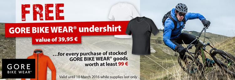 Get a free Gore Bike Wear undershirt for purchasing stocked Gore Bike Wear goods