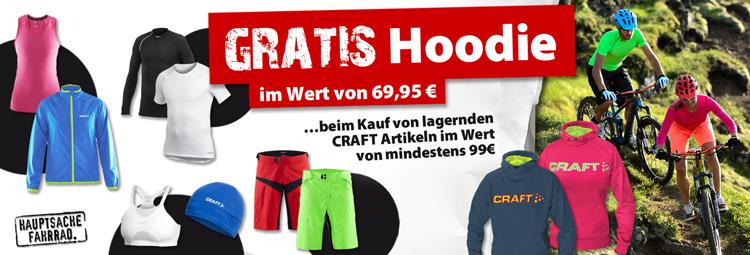 Gratis Craft-Hoodie beim Kauf von lagernden CRAFT-Artikeln