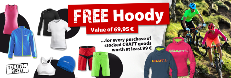 Get a free CRAFT hoody for purchasing stocked CRAFT goods