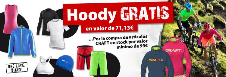 Obten gratis la Craft-sudadera con capucha(Hoody) por la compra de artículos en Stock de CRAFT