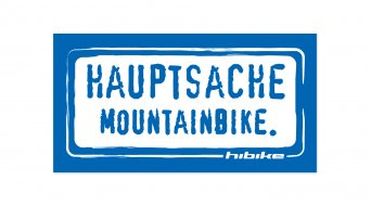 HIBIKE Hauptsache mountainbike . sticker blue/white (deck end )