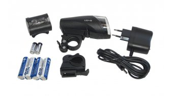 Busch & Müller Ixon IQ Akku Scheinwerfer inkl. Ladegerät und 4 Akkus (2100mAh) inkl. Batterie-Rücklicht IXBACK Senso klar/rote-LED