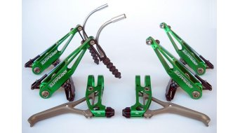 Extralite BrakeLevers-Kit V-Brake juego de frenos para rueda delantera y rueda trasera verde