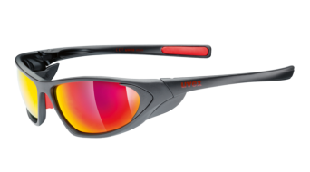 Uvex Attack Brille Outdoor black mat/red mirror