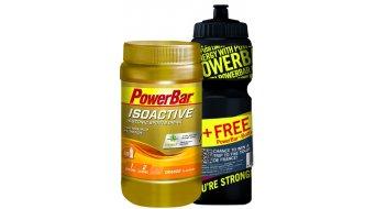 Powerbar Isoactive Sportsdrink Onpack 600g Dose Orange + Gratis Trinkflasche 0,7L schwarz