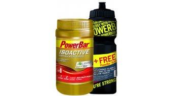 Powerbar Isoactive Sportsdrink Onpack 600g Dose Red Fruit Punch + Gratis Trinkflasche 0,7L schwarz