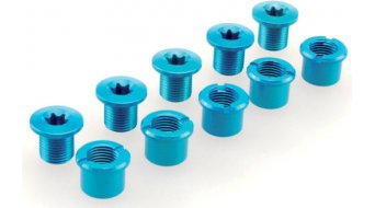 Procraft Kettenblattschrauben M8x9 Set blau für 2-fach Kurbel (5 Schrauben + 5 Muttern)