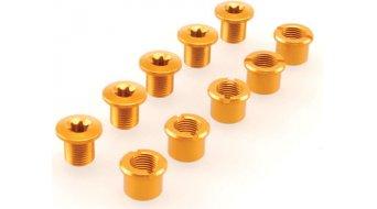 Procraft Kettenblattschrauben M8x9 Set gold für 2-fach Kurbel (5 Schrauben + 5 Muttern)