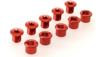 Procraft Kettenblattschrauben M8x9 Set rot für 2-fach Kurbel (5 Schrauben + 5 Muttern)