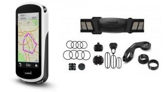 Garmin Edge 1030 GPS 无线骑行电脑 Bundle (含有Preminum-心跳频率带, 速度- 和 踩踏频率传感器) 黑色/白色