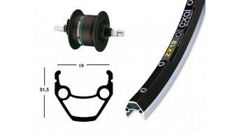 Shimano 28 dinamo de cubo rueda delantera DH3N20 dinamo de cubo negro(-a)/Exal ZX19 llanta negro(-a) 36 agujeros