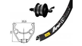 Shimano 26 Nabendynamo Disc Vorderrad DH3D35 Nabendynamo Centerlock schwarz / Mavic XM 319 Disc Felge 36 Loch schwarz