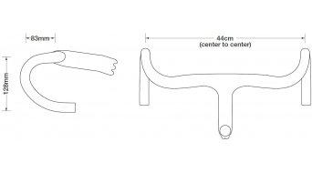 Ritchey WCS Mono-Curve Carbon UD Rennrad Lenker Road Bar Lenker/Vorbau-Kombination 120x440mm carbon