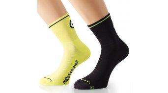 Assos milleSock evo7 Socken (2 Paar) Gr. 35-38 (0) voltYellow&blockBlack