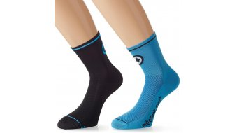 Assos milleSock evo7 Socken (2 Paar) Gr. 35-38 (0) calypsoBlue&blockBlack