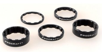 "Procraft Spacer Superlight set 1 1/8"" noir, 1 x 3mm, 2 x 5mm, 2 x 10mm"