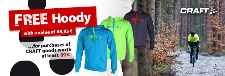 Free CRAFT Hoody for purchases of stocked CRAFT goods