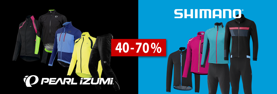 40-70% on Pearl Izumi & Shimano bike wear