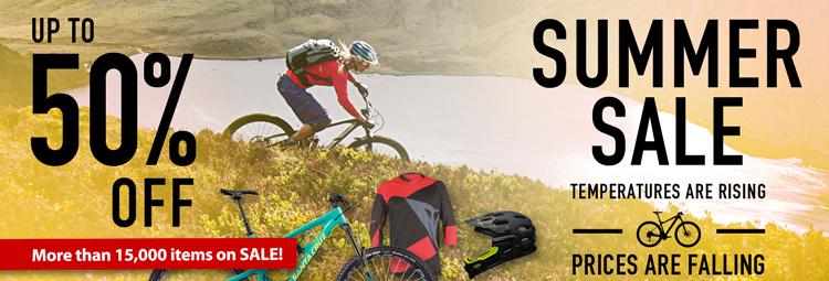 Zomer SALE aanbiedingen voor fietskleding, fietsonderdelen en accessoires. Lage prijzen online bij hibike.com