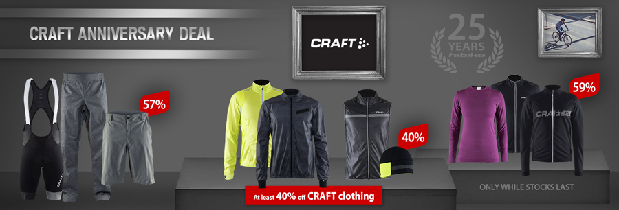 CRAFT bike wear at least 40% off!