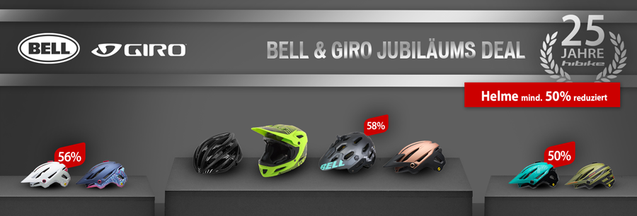 Giro und Bell Helme mindestens 50% reduziert bei hibike.de
