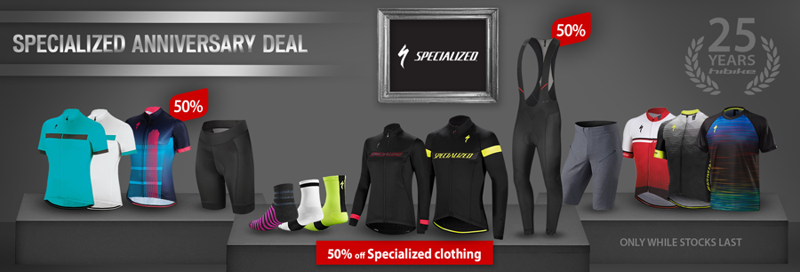 Specialized clothing reduced by at least 50%