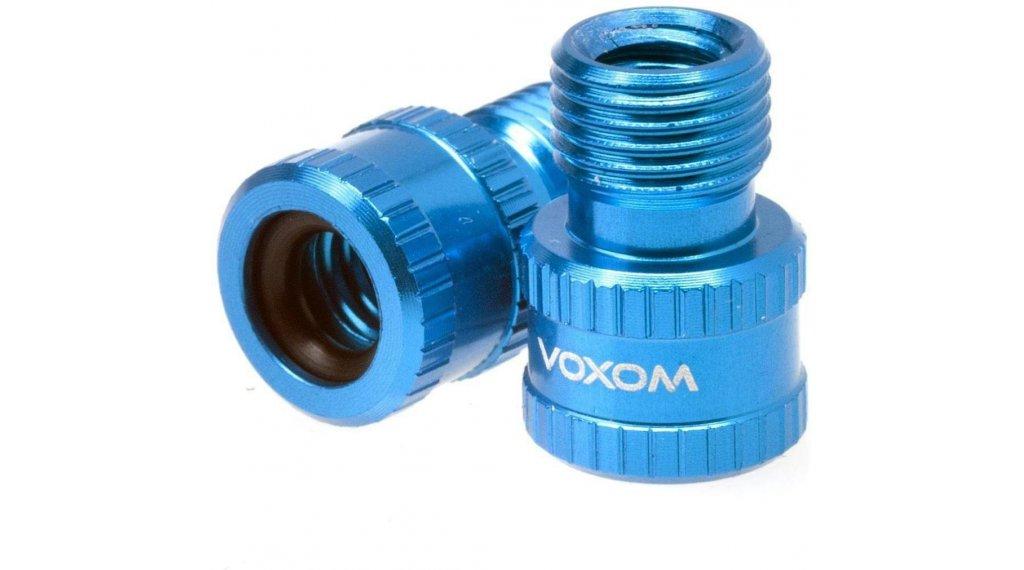 Voxom VAD1 Ventiladapter (Presta frz.Ventil zu Schrader Auto Ventil) blau