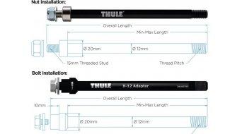 Thule Steckachsen adattatore 12mm per Shimano M12x1.5 con
