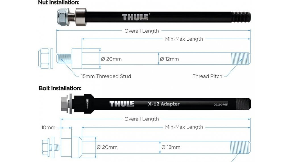 Thule thru axle adapter 12mm for Syntace X-12 M12x1.0 160mm with mounting screw