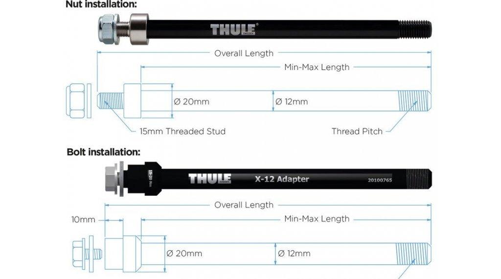 Thule Steckachsenadapter 12mm für Syntace X-12 M12x1.0 160mm mit Befestigungsschraube