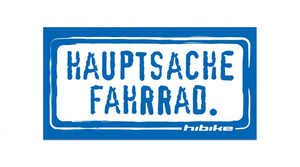 HIBIKE Hauptsache Fahrrad. Aufkleber blau umrandet (transparent)