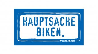 HIBIKE Hauptsache Biken. sticker blue/white (deck end )