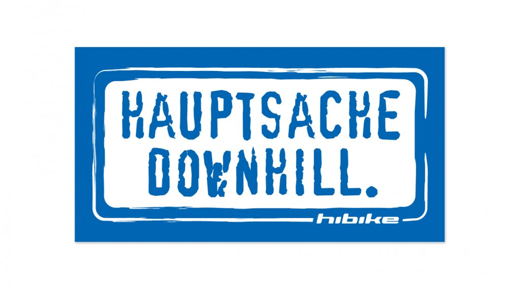 HIBIKE Hauptsache Downhill. sticker blue/white (deck end )