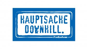 HIBIKE Hauptsache Downhill. sticker blue/white (deck end )