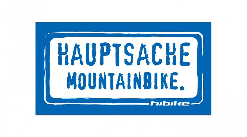 HIBIKE Hauptsache Mountainbike. Aufkleber blau/weiß (deckend)