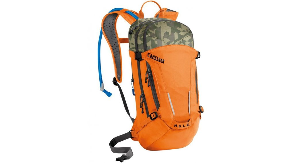 Camelbak MULE Trinkrucksack inkl. 3 Liter Trinkblase russet orange/camouflage (9L Packvolumen)