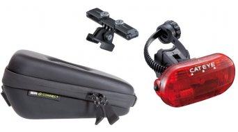 SP Connect Saddle Case Set Fahrrad-Satteltasche inkl. Cateye Omni 3G Rücklicht