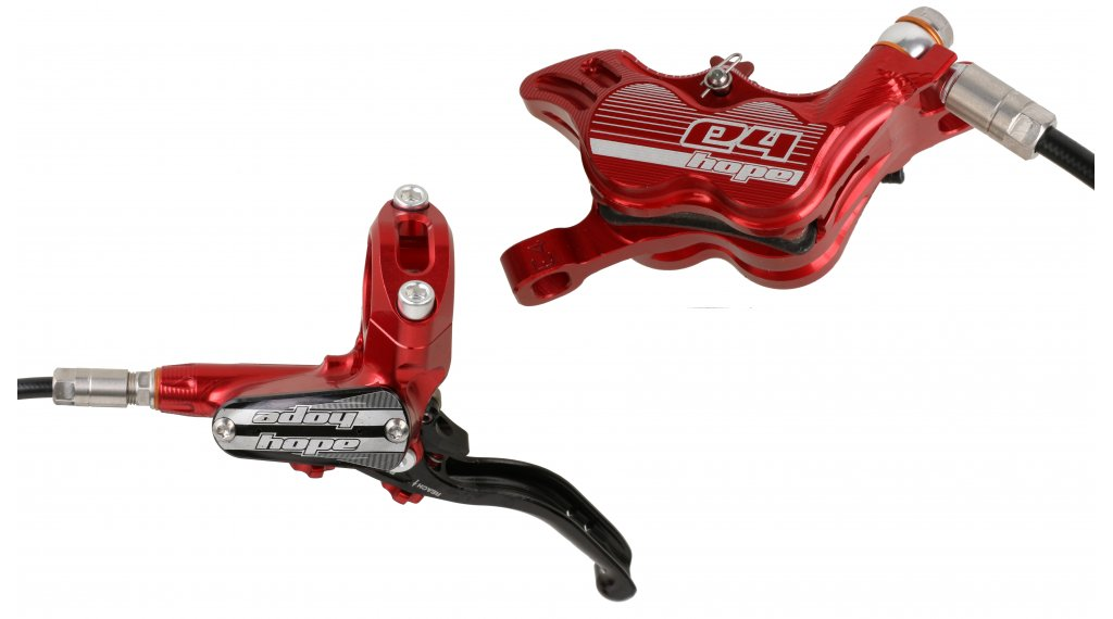 Hope Tech 3 E4 Red Left Brand New Front with Black Hose Brake