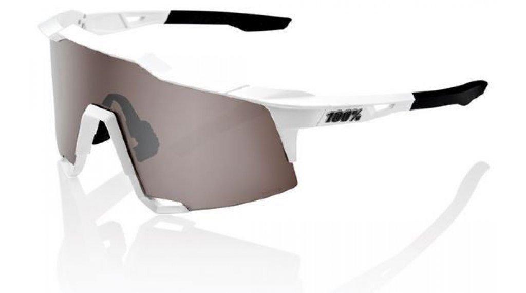 100% Speedcraft HD Multilayer Sportbrille Gr. tall matte white Hiper silver (Hiper-lens)