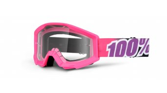 100% Strata Goggle niños-Goggle Youth bubble gum (Anti-Fog clear lens)