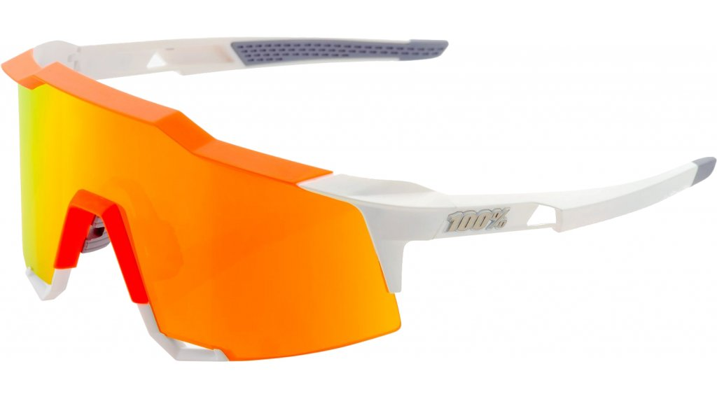 100% Speedcraft HD Multilayer Sportbrille Gr. tall white/neon orange (red Hiper-lens)