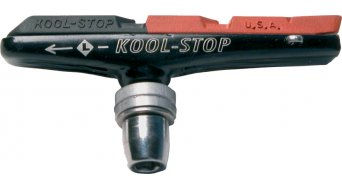 Kool-Stop Linear Pull V- type brake shoes, Holder with dual compound, black/salmon