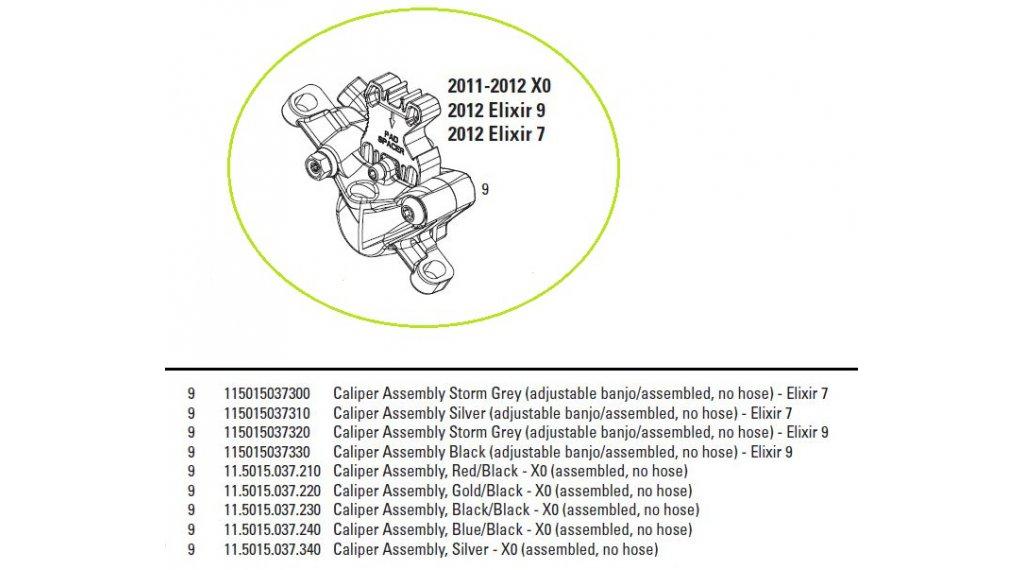 Avid Ersatzteil Bremssattel Elixir X.0 Caliper Assembly, Black/Black (assembled, no hose)