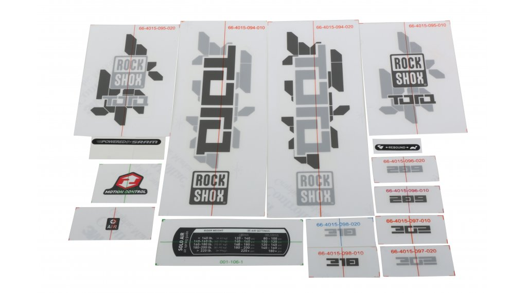 ROCK SHOX REBA FORK DECAL SET WHITE VERSION