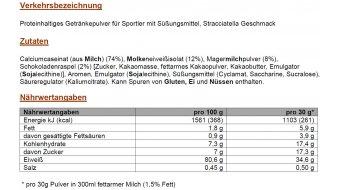 PowerBar Protein Plus 80% Shake-Pulver Stracciatella 500 gr. envase de recarga