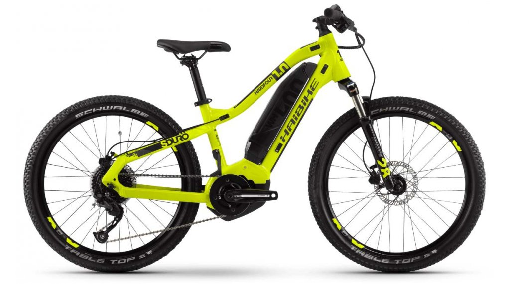 "Hai bike SDURO HardFour 1.0 24"" MTB E- bike bike kids size XS lime/titanium/black 2020"