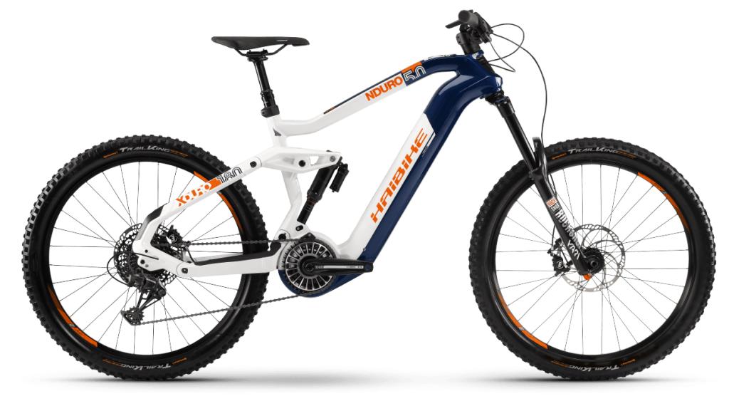 Haibike XDURO Nduro 5.0 27.5 E-Bike MTB Komplettrad Gr. S blau/weiß/orange Mod. 2021