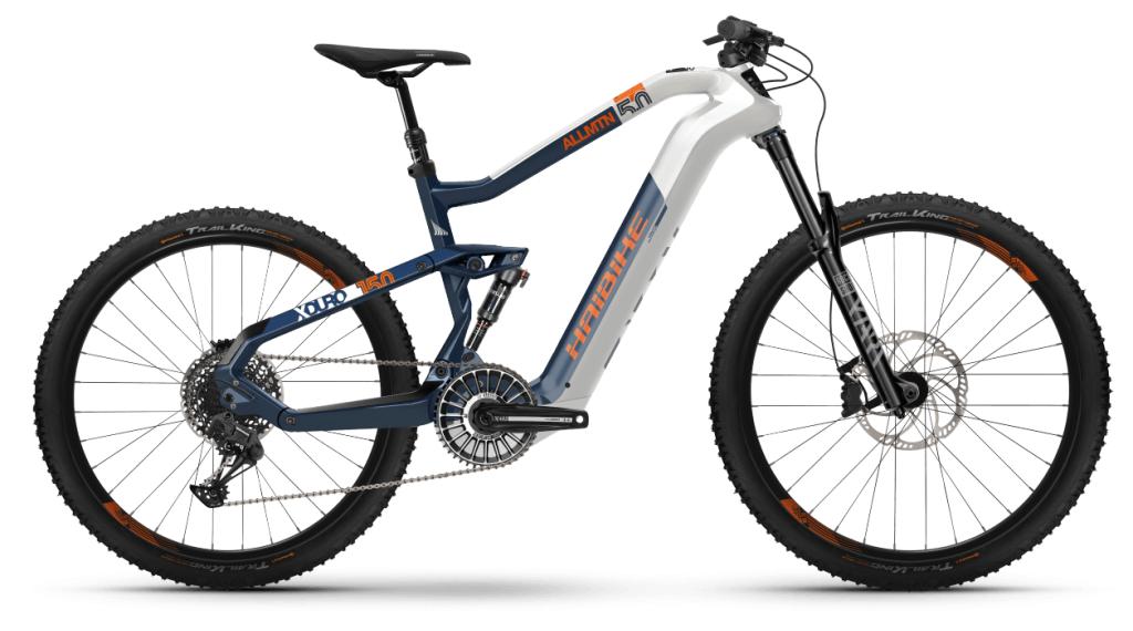 Haibike XDURO AllMtn 5.0 29 / 27.5 E-Bike MTB Komplettrad Gr. M weiß/blau/orange Mod. 2021